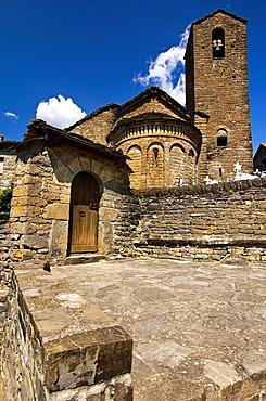 Apse and bell tower of the church Mozarabic, Romanesque San Martin de Olivan, Serrablo, Alto Gallego, Huesca Province, Aragon, Aragon Pyrenees, Spain, Europe