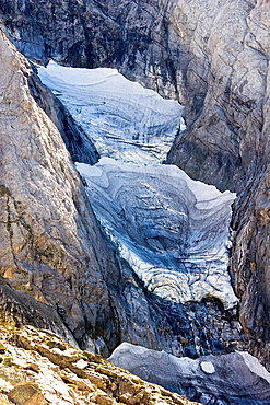 Petit Vignemale suspended Glacier, September 2012, Gaube Valley, Vignemale Massif, Cauterets, Aquitaine, Hautes Pyrenees, France, Europe