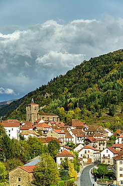 Panoramic views of Isaba town, Roncal Valley, Navarre, Spain