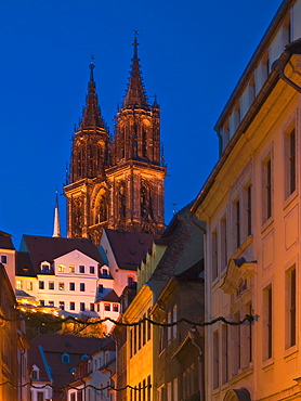 View to Meissen Cathedral, Meissen, Saxony, Germany, Europe