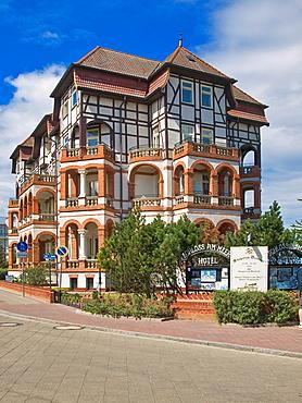 In 1902 built hotel, castle by the sea, baltic resort Kuehlungsborn, biggest seaside resort of Mecklenburg, administrative district Bad Doberan, Mecklenburg-Western Pomerania, Germany, Europe