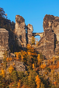 Spectacular rock formation Bastei Bastion and Bastei Bridge. It is one of the most visited tourist attractions in the Saxon Switzerland, municipality Lohmen, near Dresden, Saxony, Germany, Europe
