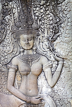 Cambodia, Angkor Temples Complex, close detail relief of the Angkor ancient city, Angkor Wat Temple, Asia UNESCO
