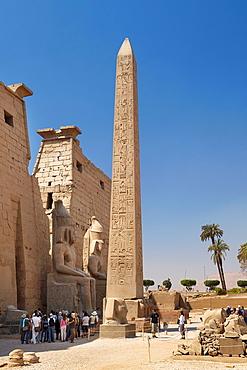 Luxor Temple of Amun, Egypt, the obelisk in front of pylons, Luxor, Upper Egypt, UNESCO