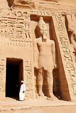 Abu Simbel, Egypt, the entrance to the Nefertari Temple, Abu Simbel temple complex located on the Nasser Lake, Lower Nubia, Egypt
