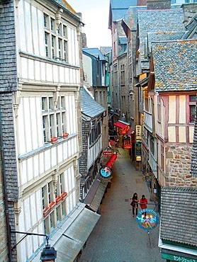 Main street in Mont Saint Michel, Normandy, Bretagne, France