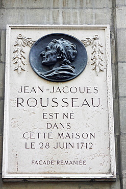 Plaque commemorating the birth house of Jean-Jacques Rousseau, city of Geneve, Switzerland.