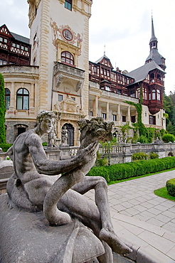 Sculpture of a knight before the Peles Castle Castelul Peles, Transylvania, Romania, Europe