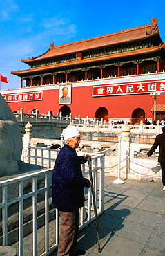 Chinese Woman In Front Of Entrance Of 'the Forbidden City' In Beijing