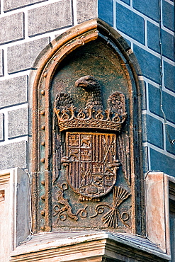Royal shield of Catholic kings in one of the corners of the Madrasah of Granada It was the first University that featured Granada Spain