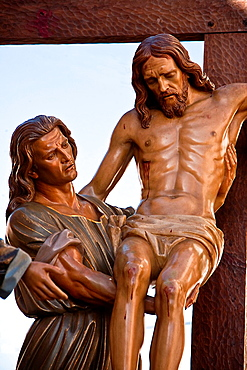 Wood carving of cedar of Spanish sculptor Victor rivers, represents the descent from the cross when Jesus was crucified, holy week in Spain, popular tradition