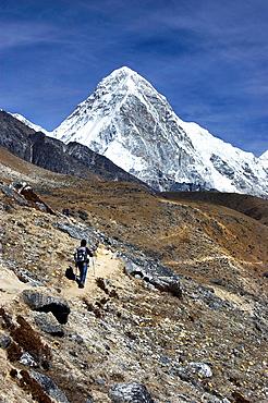 Trekking towards Pumori 7165m. Nepal, Sagarmatha, Khumbu valley
