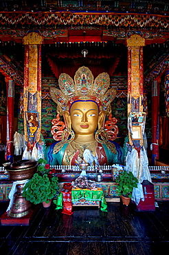 Maitreya Buddha at Thiksey monastery general view. India, Jammu and Kashmir, Ladakh, Thiksey