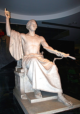 The statue of George Washington as a god of mythology on display at the Smithsonian Museum of American History in Washington, DC