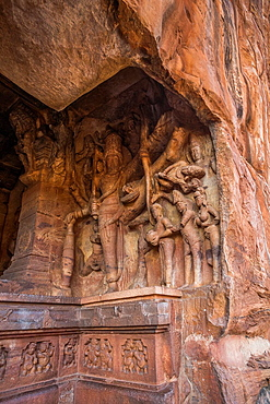 India, Karnataka State, Badami City, Badami Caves,Third Cave, dedicated to Visnu, built by Mangalesha