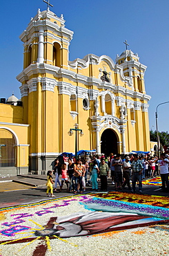 Popular celebrations in front of Santiago Apostle church during Good Friday.,Lima,Peru.