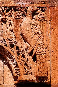 Detail of the entrance to the medieval Armenian Sirli Kilise (Church of St Gregory of Tigran Honents, 1215), Ani, Anatolia, Turkey