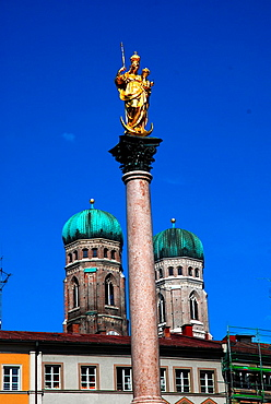 Look at Marian column and the Frauenkirche in Munich