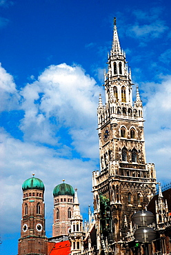 View of the Town Hall and Frauenkirche in Munich