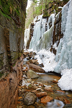 Franconia Notch State Park -Flume Gorge during the spring months in Lincoln, New Hampshire USA.