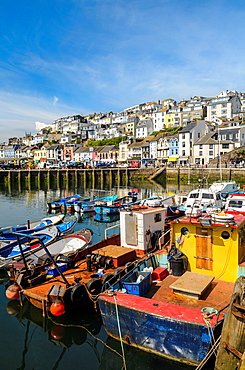 Fishing trawlers in Brixham harbour, Devon, England.