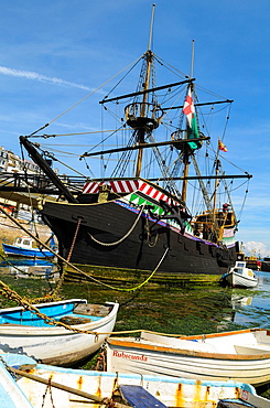 Replica of the English galleon, Golden Hind, in Brixham harbour, Devon, England.