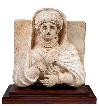 A Palmyrene stone bust of a woman Roman period 1-2 century CE.