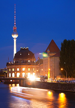 Spree River, Bode Museum, Museum Island, Museumsinsel, on background Television Tower, Berlin, Germany, Europe.