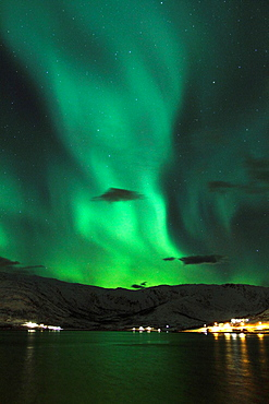 The face of the Aurora Borealis. Northern Lights in Norway.