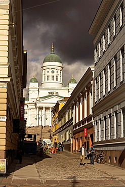St. Nicholas cathedral in a rainy day, Helsinki Finland.