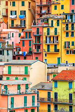 detail view of the houses of Manarola, Cinque Terre, Liguria, Italy.