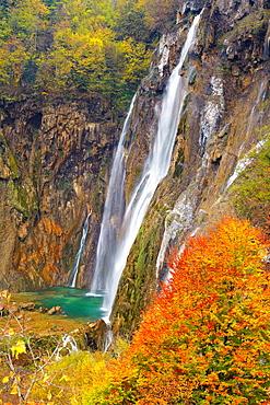 Croatia, Plitvice Lakes National Park, The Big Waterfall, Veliki Slap, Plitvice Lakes protected area in central Croatia, UNESCO.
