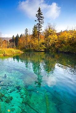 Croatia, autumn landscape of Plitvice Lakes National Park, central Croatia.