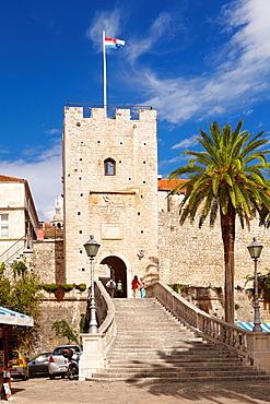 Croatia, Korcula Island, Land Gate in Korcula Old Town, Dalmatia, Croatia.