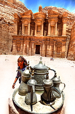 The monastery in petra ruins. jordan.