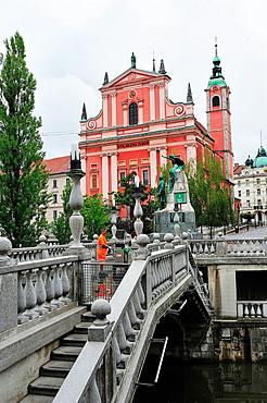 Joze Plecnik Bridge and church. Ljubljana, Slovenia