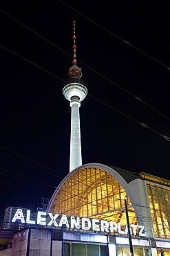 Tv tower in Alexanderplatz at night, Berlin, Germany