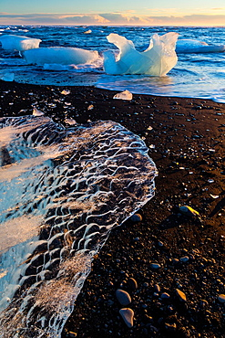 Jokulsarlon beach, Southern Iceland, Iceland, Europe.