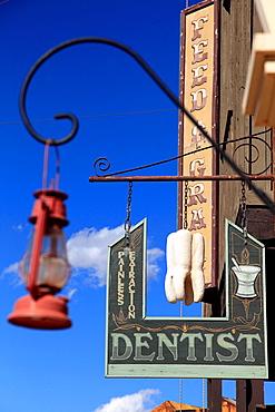 The sign of a dentist in Old Tucson Studios. Tucson. Arizona. USA.