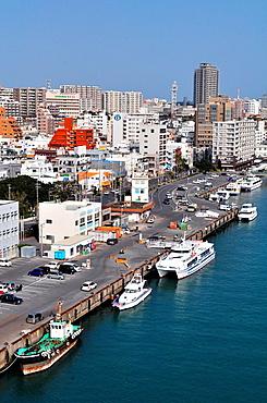 Naha, Okinawa, Japan, view of the city by Tomari Wharf