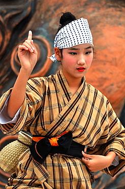 Naha, Okinawa, Japan, girls dancing traditional Okinawan dances in Tsuboya neighborhood