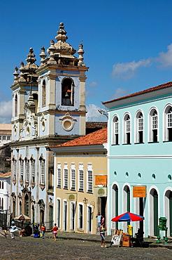 Salvador de Bahia, Bahia, Brazil, Largo do Pelourinho, the Igreja de Nossa Senhora do Rosario dos Pretos on the background