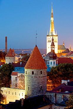 St, Olaf Church, Lower Walls, Old Town from Toompea, Tallinn, Estonia.