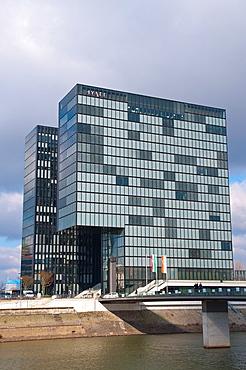 Hyatt hotel Hafen district Dusseldorf city North Rhine Westphalia region western Germany Europe.