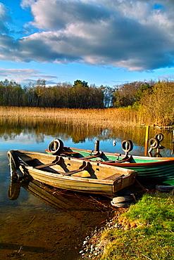 Moored boats on Lough Ennell, Tudenham, County Westmeath, Ireland