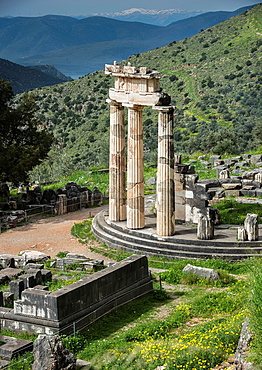 The circular Tholos at the Temple of Athena Pronaia, Ancient Delphi, Thessaly, Greece.