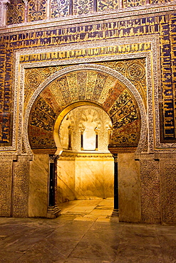 Mihrab, Mosque of Cordoba, Andalucia, Spain, Europe.