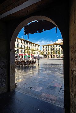 Arcade of Fueros Square in Tudela, Navarre, Spain.