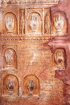 Sati handprints Junagarh Fort, Bikaner, Rajasthan, India.