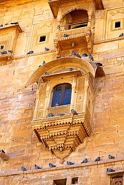 Decorated window in Jaisalmer Fort, architecture detail, Jaisalmer, Rajasthan, India.